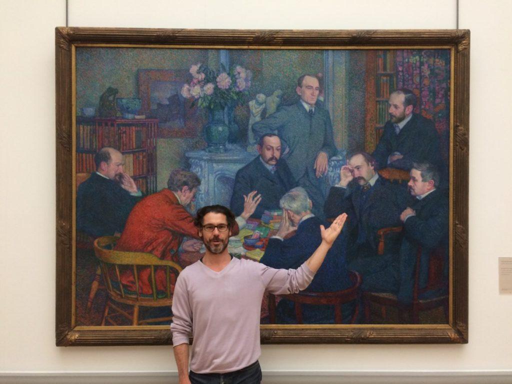 """Vincent Laisney devant le tableau """"Une Lecture"""" de Théo van Rysselberghe"""
